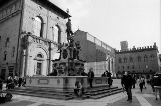 Fountain of Neptune as viewed from the library steps. Bologna, Italy.