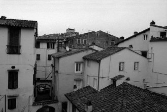 The view from our apartment in Lucca, Italy.